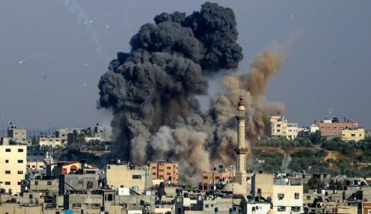 Smoke billows from Israeli air strikes in Gaza City